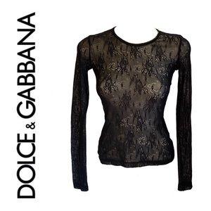DOLCE & GABBANA sheer black lace top